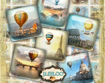 Digital printable ROMANTIC SKY 1x1 inch square sheet digital images - hot air balloon paper goods pendant craft - instant download - qu430