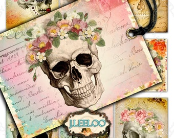 DIA De LOS MUERTOS printable gift cards - Digital collage sheet - day of the dead labels skull bones hang tag instant downloads - ac274