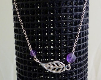 Leaf Charm and Amethyst Necklace Sterling Silver