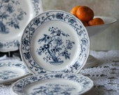 Salad Plate in Ming Tree Blue by Nikko Made In Japan, Blue and White Ceramic Plate, French Country Plate, Shabby Chic Plate, Double Phoenix