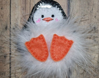 FELTIE SALE!   Penguin Marabou Puff Feltie Embroidery Machine Design for the 4x4 hoop