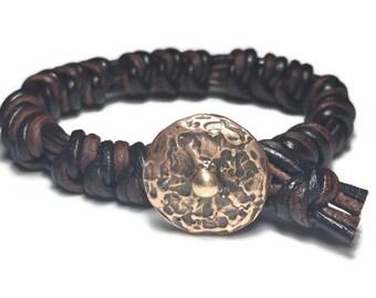 Handmade genuine leather Spanish Knot bracelet with Old World Bronze clasp