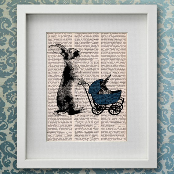 Vintage Baby Wall Decor : Dictionary print bunny with vintage baby carriage wall