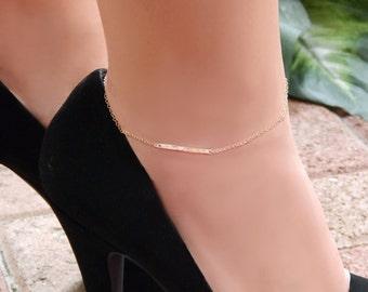Ankle Bracelet • Gold Bar Anklet • Hammered Bar • Gift for Girlfriend • Her • Sister • Mom
