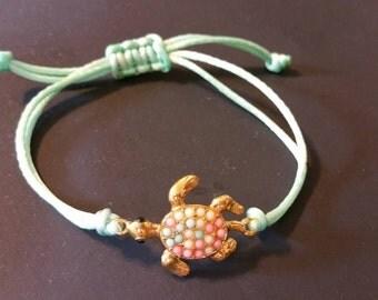 Turtle String Bracelet,  Mint Turtle Bracelet