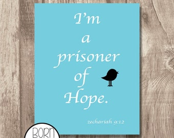 Printable Bible Verse Zechariah 9:12 Blue
