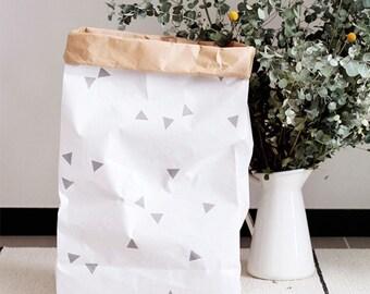 50% Sale / Kraft Paper Storage / White Triangle / Toy / Home Decor / Paper Bag / Kids Interior / Box / Bin / Basket / Decorations