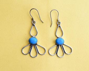 Turquoise Earring, Turquoise Stone Earring, Stone Earring,Earrings, Silver Earring, Turquoise jewellry,Dangle Earring,Turquoise Stone
