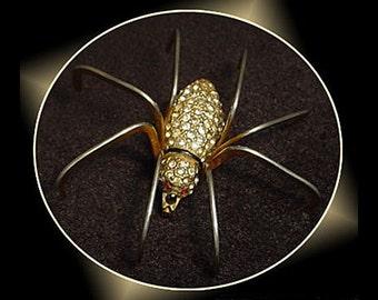 Vintage Rhinestone Spider Brooch Pin
