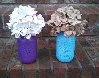 Mason Jars With Burlap Flowers
