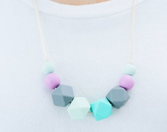 SALE Teething Necklace Silicone Nursing Necklace Karter - Lilac Mint Grey Turquoise