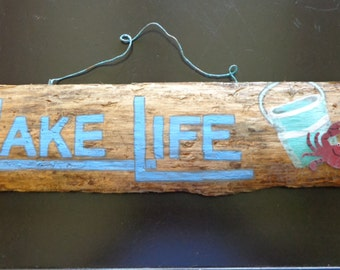 """Vintage Inspired, """"Lake Life"""", Hand Painted Sign"""