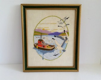Vintage Framed Needlepoint | Embroidered Fishing Boat And Seagulls On Linen Canvas | Framed Picture