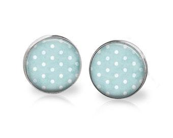 Vintage teal polka dot earring studs.