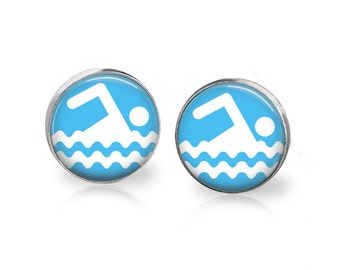 Swimming earrings. Gift for swimmer.  12mm earrings.