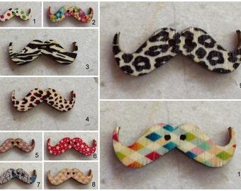Unique Designs - Wooden Mustache Buttons - Set of 5