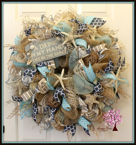 Beach Wreath Beach Themed Wreath Summer Wreath Deco Mesh