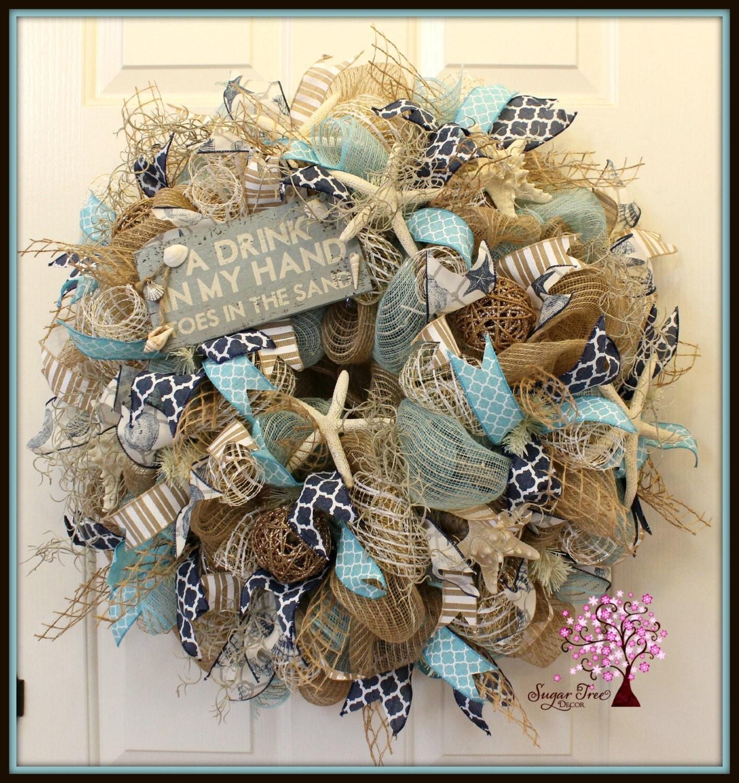 Beach Wreath Beach Themed Wreath Summer Wreath Deco Mesh