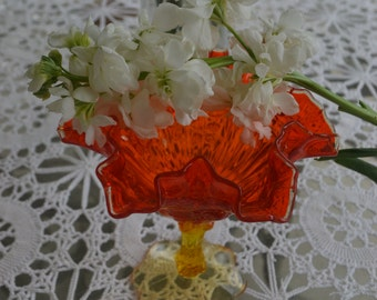 Vintage Ruffled Orange Glass Candy Dish Pedestal Gorgeous!!