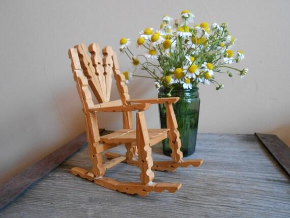 vintage folk art clothespin rocking chair one of a kind. Black Bedroom Furniture Sets. Home Design Ideas