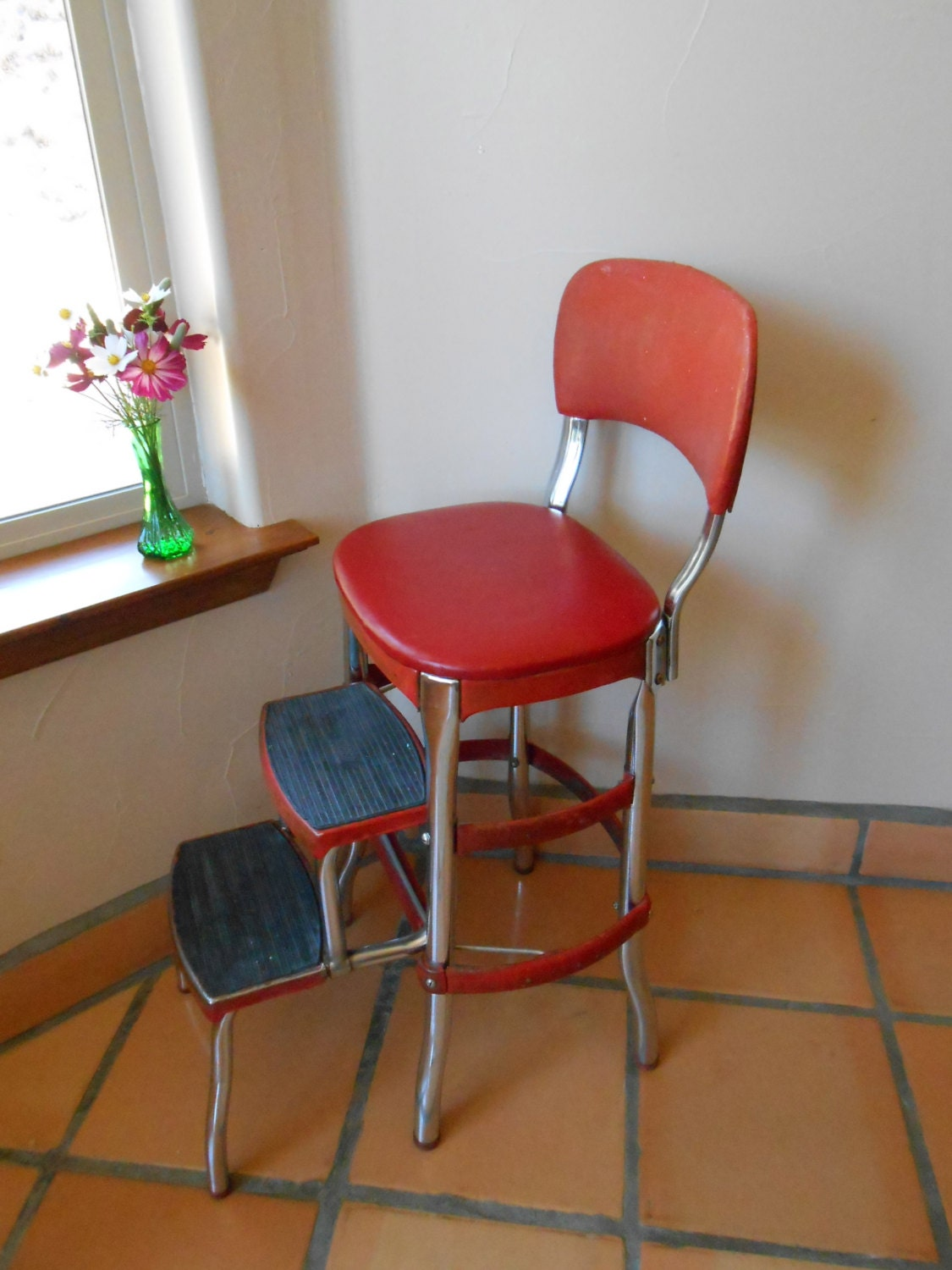 Step Stool Cosco Vintage 1950s Era Red And Chrome Step Stool