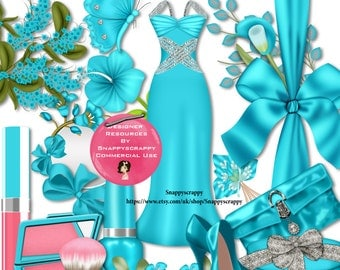Ladies Fashion Scrap Kit,  Acqua Blue Evening Dress with matching accessories, CU