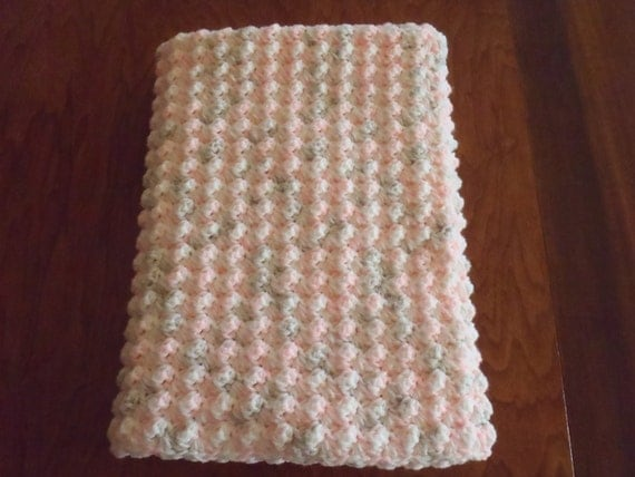 Crochet Pink Bubble Baby Afghan Blanket