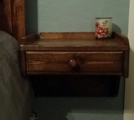 Items similar to wall mounted nightstand on etsy for Wall hung nightstand