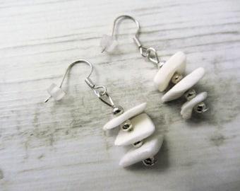 white shell, seaside, off white, earings, earrings, natural, white, silver