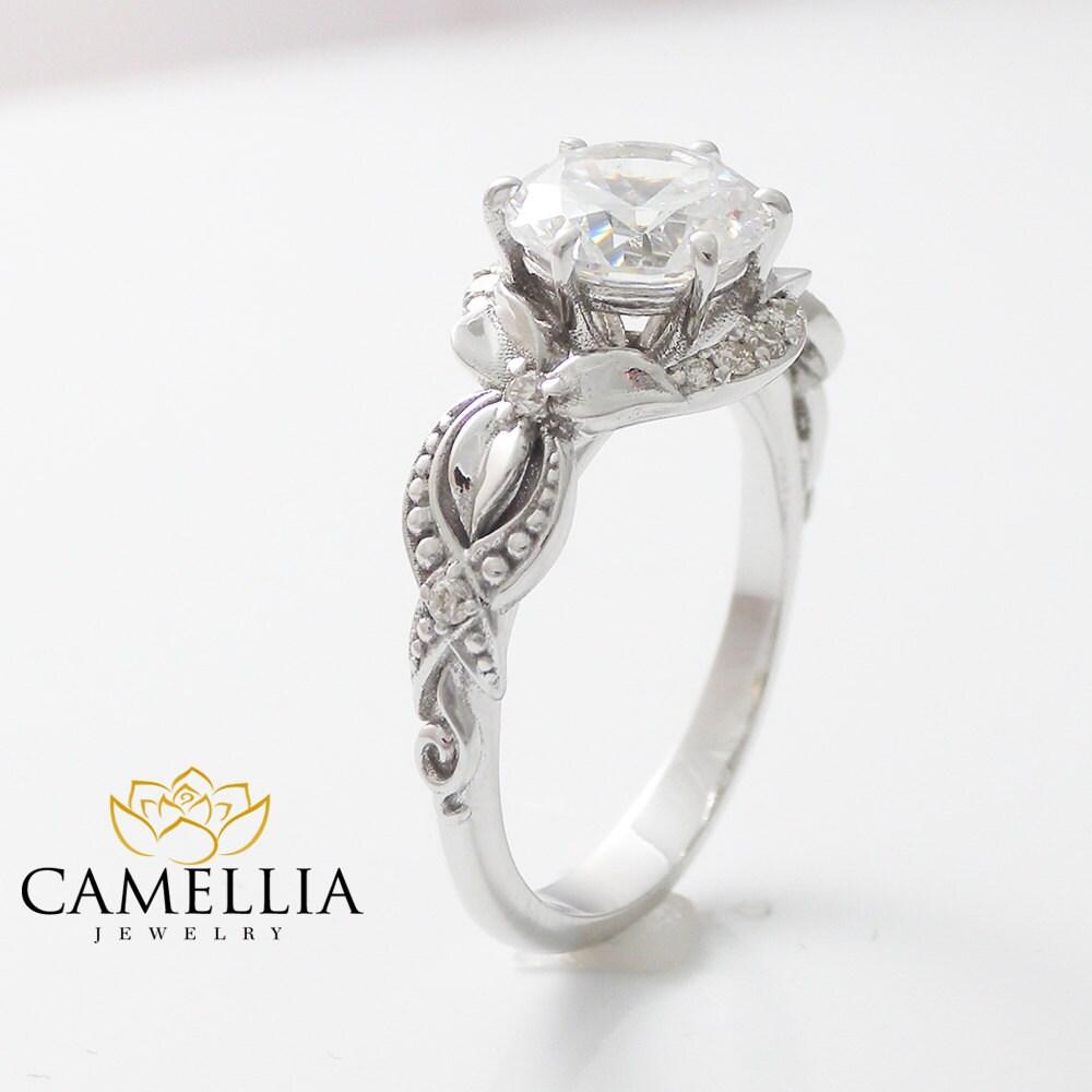 floral 2ct moissanite engagement ring 14k white gold