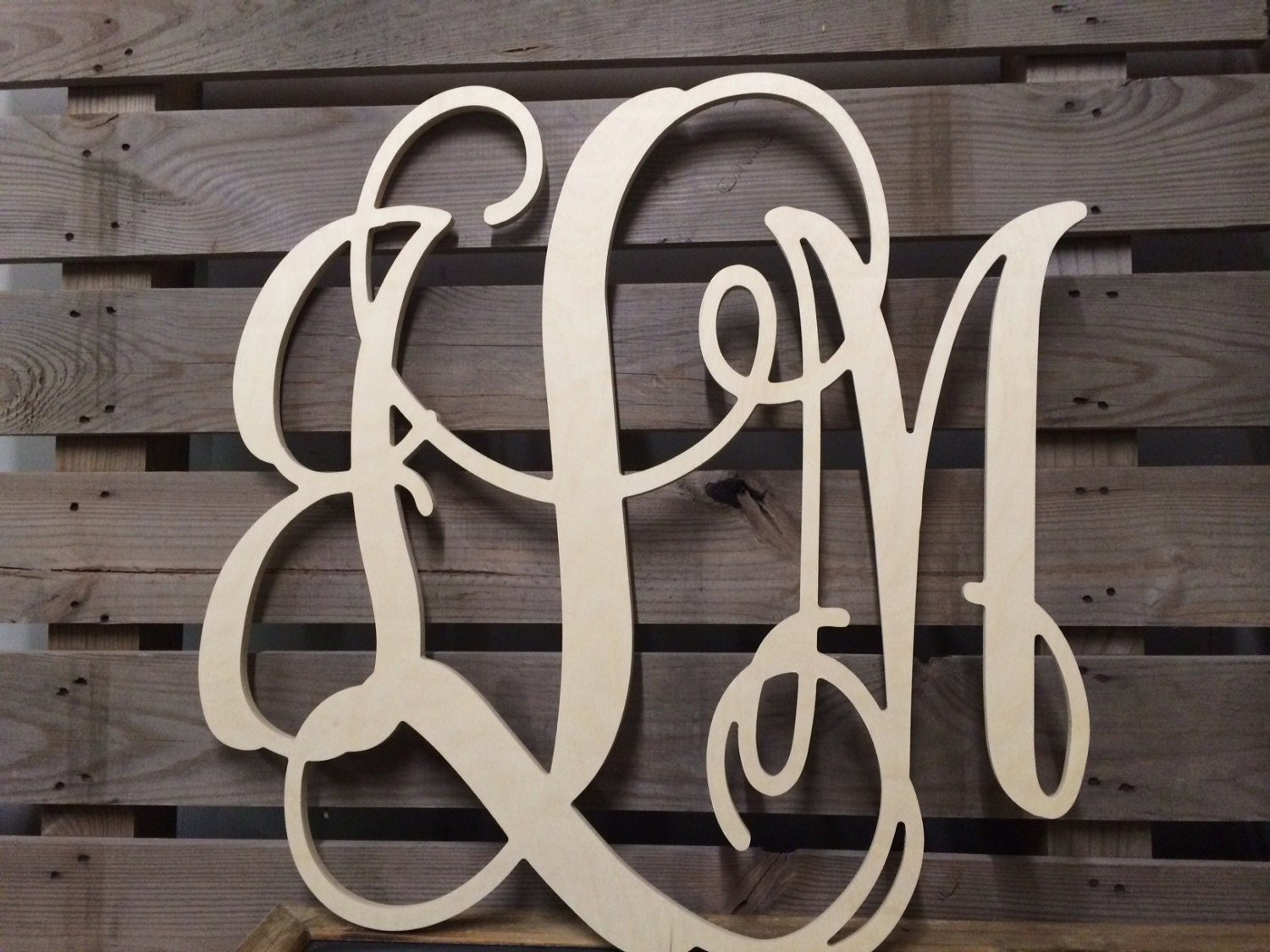 Monogram Wall Hanging 3 Initials Quick Ship Gift Wedding