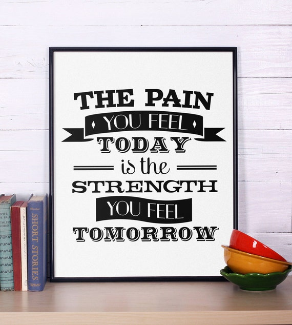 Motivational Print, The Pain You Feel Today, Fitness Motivation, Inspirational Wall Phrase Art, Gym Fitness Workout Training Bodybuilding