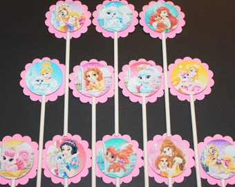 Princess Palace Pets Cupcake Toppers, 12 count Cake Toppers, Disney Princesses Palace Pets