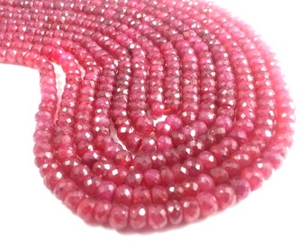 4.5 - 5 mm Natural Dyed Ruby Faceted Beads