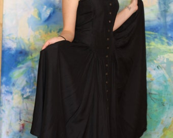 Black Byblos Button up Dress with Full Skirt, US Size 8