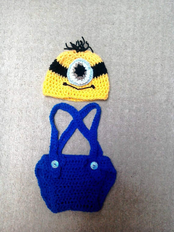 Crochet Patterns For Baby Overalls : Minion baby outfit hand crocheted by HandKnittedToysJo on Etsy