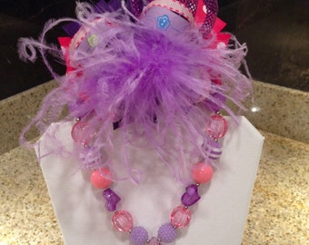 Pink and purple bubblegum necklace, and matching boutique style over the top hair bow! Great for infants and toddlers!