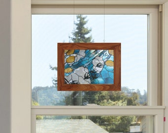 Stained glass with swallows sun catcher window decor see through print