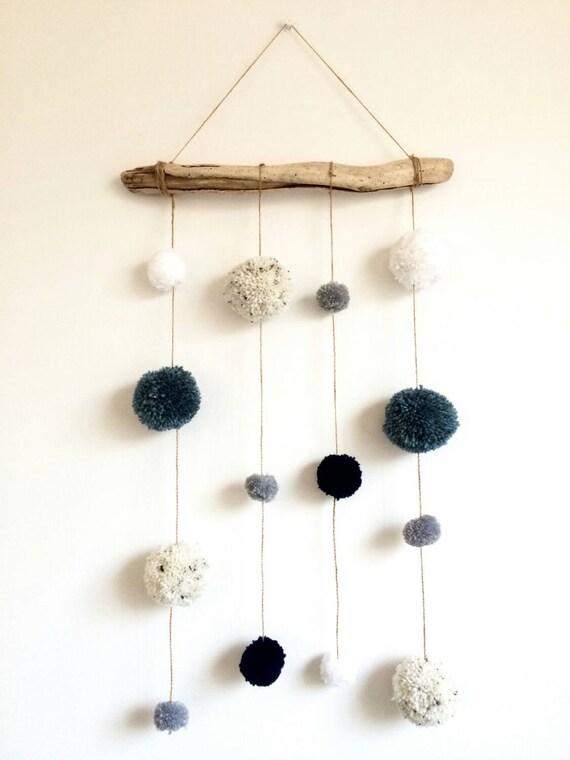 driftwood pom pom hanging mobile decoration blue by helcatemporium. Black Bedroom Furniture Sets. Home Design Ideas
