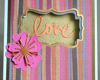 Handmade Love Card With Pink 3D Flower-Valentine's, Friendship, Thinking Of You, Sympathy Handmade Card