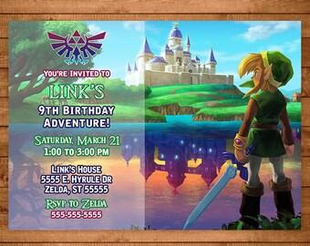 Legend of Zelda Invitation Link -- Zelda Invite -- Zelda Birthday -- Link Birthday -- Link Invitaiton - Video Game Party