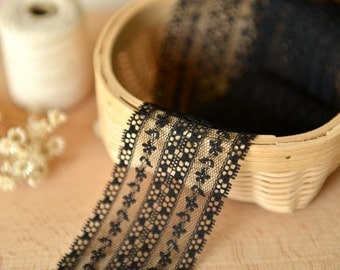 2 Yards of Black and White Lace Trim - 5cm Width-Ribbon for Sewing, Crafts, Scrapbooking, Embellishments, Altered Art, Mixed Media