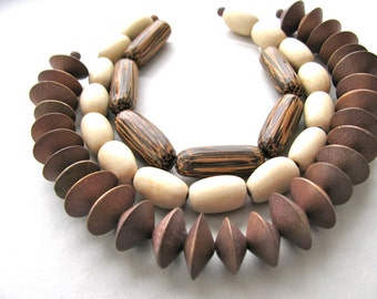 Wood beads, 50 beads, brown and beige - # 311