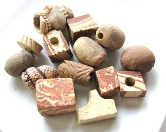 Group of 14 handmade ceramic beads, rustic beads, unglazed - #483
