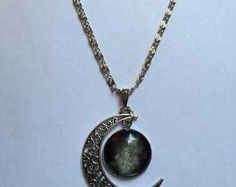 Black Galaxy Hollow Half Moon Pendant Necklace