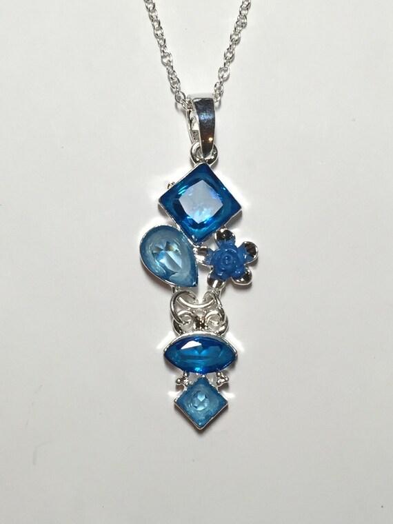 blue quartz silver pendant necklace by krisjewelryboutique