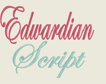 Edwardian Script Embroidery Font 4X4 Hoop- 2 Sizes Alphabets Font and Numbers, Script Font for Embroidery 4x4 embroidery font.Machine Font