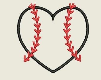 3-SIZES Baseball Heart Applique Embroidery Design, Baseball Applique ,Digital Machine Embroidery Design, Baseball Embroidery Design
