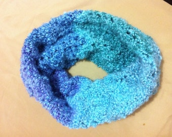 """Fashion Cozy Softest SeaGlass Stripes Hand Knitted Round Cowl Scarf Neck Warmer 15x17"""""""