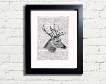 Deer Stags Head Blk & White Image Wild Woodland Creature INSTANT DIGITAL DOWNLOAD A4 Printable Pdf Jpeg Image  Art Print Home Décor